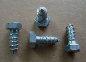 """Lot (4) 3/8"""" x 1"""" Hex Head Lag Screws / Bolts Zinc Plated Steel"""