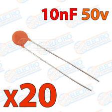 20x Condensador 10nF 10000pF 0,01uF 50v 103 ceramico PCB PIC Arduino