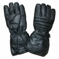 REAL LEATHER WINTER DRIVING BIKER INSULATE LINED GLOVES w/ RAIN COVERS - UK1F