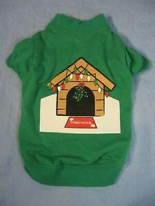 Dog Cat Christmas Holiday Dog House Tee Size XS
