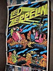 Led Zepplin Vintage Poster Felt Black light all 4 members RARE version original