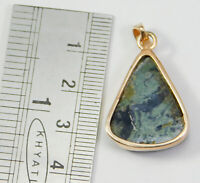 Solid 925 Sterling Silver Green Lace Agate Gemstone Rose Gold Plated Pendant