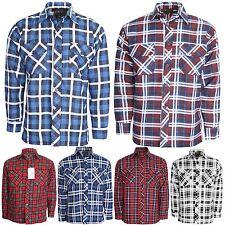 Mens Premium Quailty Flannel Lumberjack Brushed Fleece Check Cotton Work Shirt Royal XL
