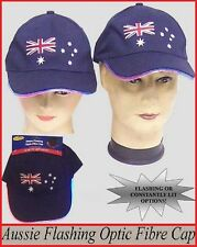 AUSSIE Flashing Fibre Optic Lights CAP HAT Australia Commonwealth Olympic Party