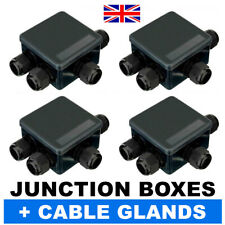 4x BLACK IP Junction IP55 Terminal Boxes + 16x PG19 Cable Gland CCTV LED Outdoor