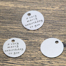 10pcs a very merry unbirthday to you charm silver tone message pendant 20mm