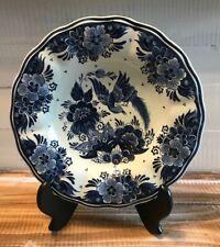 """VINTAGE Delft Koninklijke Porcelain 9.75"""" Wall PLATE Blue White Birds Flowers"""