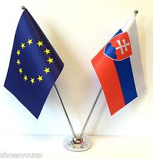 European Union EU & Slovakia Flags Chrome and Satin Table Desk Flag Set