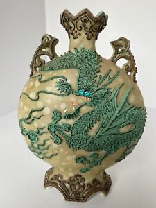 Hand Painted Oil Spot Nippon Moriage Dragon Vase