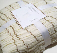 Pottery Barn Ivory Ruched Voile Cotton Twin Duvet Cover New