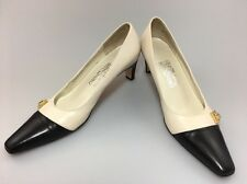 Salvatore Ferragamo Classic Cap Toe Pumps Sz 7.5 AAA Bone & Black Wear To Work