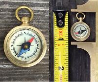 "Mini Working compass 1"" brass glass gold bronze steampunk pendant fob Retro gift"