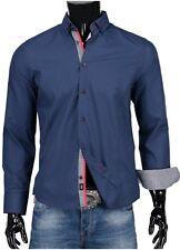 S - XXL  Herren Jeel Hemd Hemden Business Freizeit Anzug Büro Fein Slim-Fit NAVY