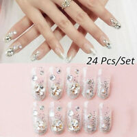 Glitter Stiletto False Nail Tips With Glue Full Cover Fake Nails Manicure Tool