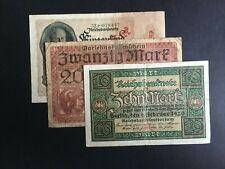 GERMAN EMPIRE & WEIMAR. 10, 20 & 1,000 REICHBANK NOTES -:- CIRCULATED CONDITION.