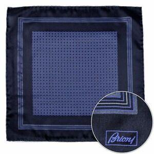 $150 New BRIONI Black Navy Hand Rolled Silk Pocket Square Handkerchief Hanky