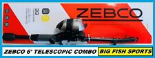 ZEBCO 33 SPINCAST 6' TELESCOPING Fishing Combo Rod and Reel NEW! #33605MTEL