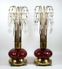 Antique Boudoir Lamp Pair Red Glass Bases Waterfall Crystal Prism Shades Footed