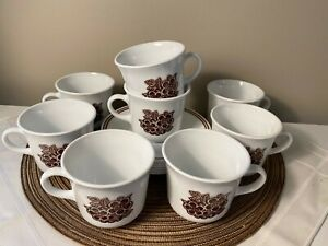 Vintage Corelle by Corning Woodland Brown ~ Retired Set ~ Flat Cup with Hook Handle /& Saucer *or* 5 Replacement Saucers Set