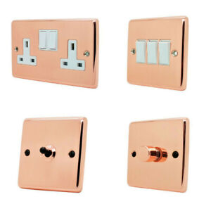 Bright Shiny Polished Copper Plug Sockets Light Switches Dimmers - Whole Range W
