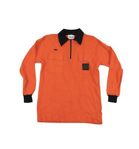 NOS Vtg 80s Long Sleeve Referee Soccer Jersey Uniform Shirt Orange Mens M USA