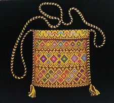 Small Gold & Maroon Bag Morral Maya San Andrés Larrainzar Mexico Hand Woven Boho