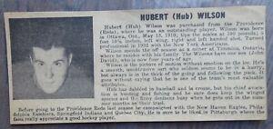 1941-42 Pittsburgh Hornets 'newspaper card' (clipping) Hubert Hub Wilson 2.5 x 6