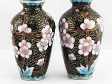 BEAUTIFUL VINTAGE PAIR OF MINIATURE CHINESE BLACK CLOISONNE FLOWER VASES