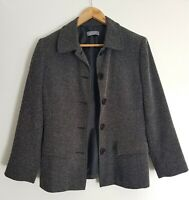 Jacqui E Womans Button Up Jacket Black & White Fully Lined Size 10 Corporate