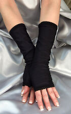 LONG BLACK SHINY SPANDEX FINGERLESS GLOVES ARM WARMERS WITH LACE EDGE MF706