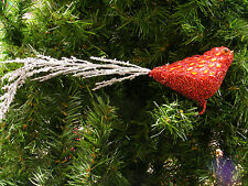 RED GLITTERED BIRD w/ RED FACETED JEWELS CLIP ON CHRISTMAS TREE ORNAMENT