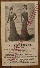 Publicité ancienne Fraenkel vetements costumes,1900,french advert
