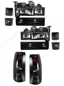 Combo Black Headlights + Smoke Taillights for 1994-1999 Chevrolet C/K Full Size