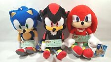 "Sega Sonic The Hedgehog Game Sonic Knuckles Shadow Stuffed Plush Doll 12"" Set"