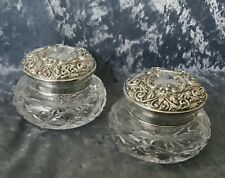 More details for pair of top quality british hallmarked sterling silver lidded trinket pots/jars.
