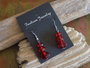 PIERCED  EARRINGS  WITH RED BEADS