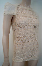 ISABEL MARANT Cream Cotton Blend Crochet Lace Pleated Short Sleeve Top Sz:0; S