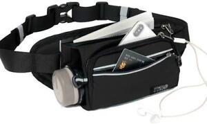 Running Waist Belt w/ Water Bottle Holder Waterproof Bum Bag Black & Pocket