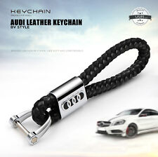 For Audi Black Leather Metal Keychain Gift With Logo Emblem Decoration Gift