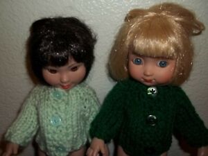 """Hand Knit Clothes Two Green Sweater fits 10"""" Ann Estelle, Gracie Tonner Doll"""