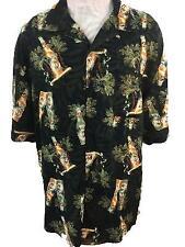 Puritan mens Hawaiian shirt size XL 46 48 rayon beer palm leaves green black