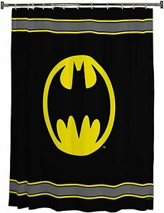 NEW DC Comics Batman Logo 72x72 Black and Yellow Fabric Shower Bathtub Curtain