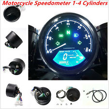 Universal 12000RMP LCD Digital Speedometer 1-4Cylinders Motorcycle Digital Gauge