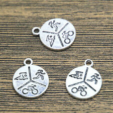 15pcs--Triathlon Symbols Fitness Charms, Silver Swim Bike Run pendants 20x16mm