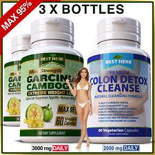 3 x Bottles Garcinia MAX 95% Natural Diet Colon Detox Weight Loss Slimming Pills