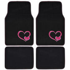 carXS Carpet Car Floor Mats Pink Hearts Heavy Duty Padded Backing for Truck SUV