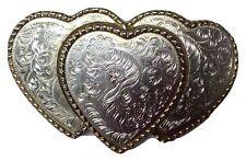 Western TRIPLE CUORE Scroll Fibbia della Cintura Vintage Americano Retrò Classico Retrò