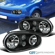 Fit VW 99-06 Golf Mk4 GTI R32 Cabrio Black Headlights w/ Built-in Fog Lamps Pair