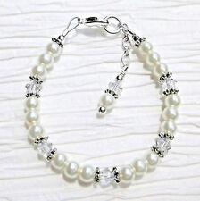 Newborn Baby Bracelet: White Pearl & Crystal Clear made w Swarovski Elements