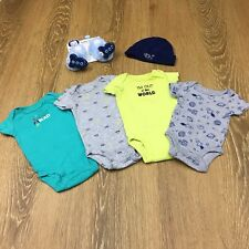 Guc 6 Piece Newborn Outer Space Bundle - bodysuits, hat, booties